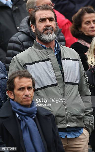 Eric Cantona above him CEO of FNAC Alexandre Bompard attend day 13 of the 2016 French Open held at RolandGarros stadium on June 3 2016 in Paris France