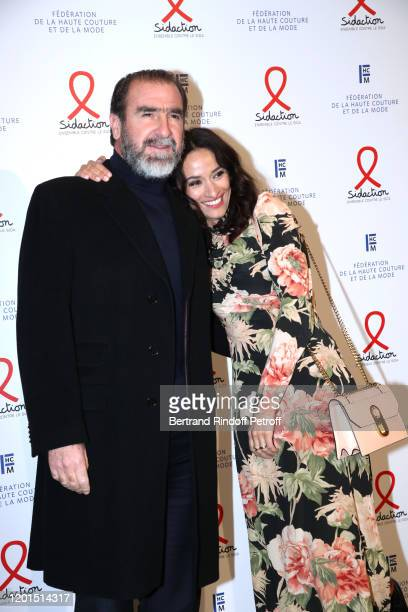 Eric Cantona and his wife Rachida Brakni attend the Sidaction Gala Dinner 2020 at Pavillon Cambon on January 23 2020 in Paris France