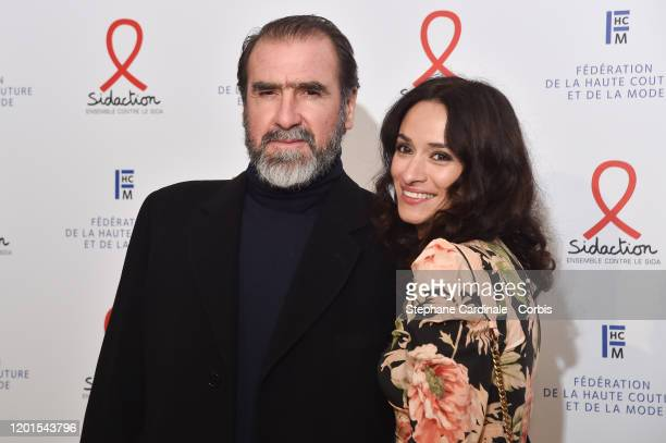 Eric Cantona and Rachida Brakni attend Sidaction Gala Dinner 2020 At Pavillon Cambon on January 23 2020 in Paris France