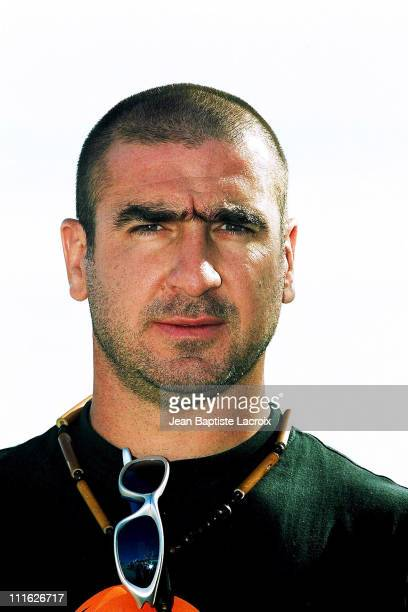 Eric Cantona during MIPCOM 2001 Eric Cantona Photocall at Cannes Beach in Cannes France