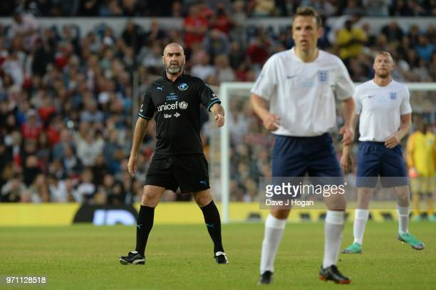 Eric Cantona during Soccer Aid for Unicef 2018 at Old Trafford on June 10 2018 in Manchester England