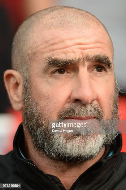 Eric Cantona during Soccer Aid for Unicef 2018 at Old Trafford on June 10 2018 in Manchester England at Old Trafford on June 10 2018 in Manchester...