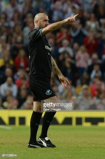 Eric Cantona gestures during Soccer Aid for Unicef 2018 at Old Trafford on June 10 2018 in Manchester England