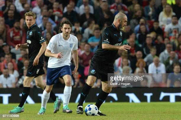 Eric Cantona in action during Soccer Aid for Unicef 2018 at Old Trafford on June 10 2018 in Manchester England