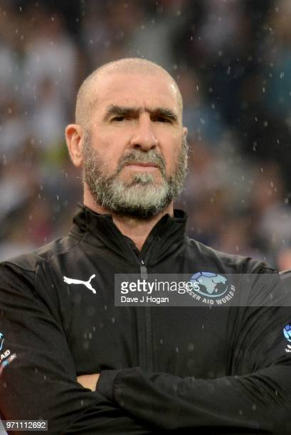 Eric Cantona linesup prior to kick off during Soccer Aid for Unicef 2018 at Old Trafford on June 10 2018 in Manchester England