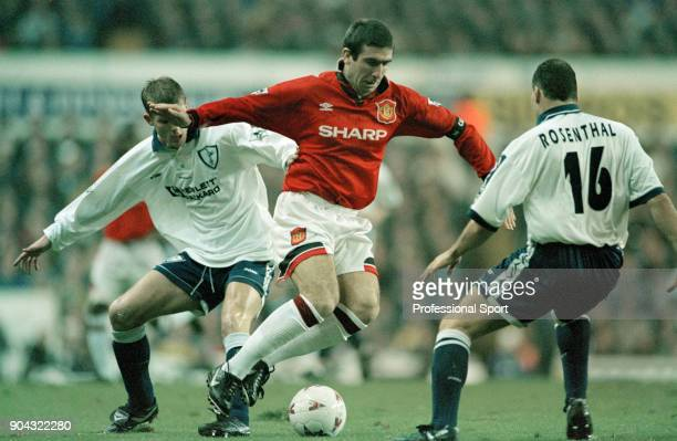 Eric Cantona of Manchester United in action against Ronny Rosenthal of Tottenham Hotspur during an FA Carling Premiership match at White Hart Lane on...