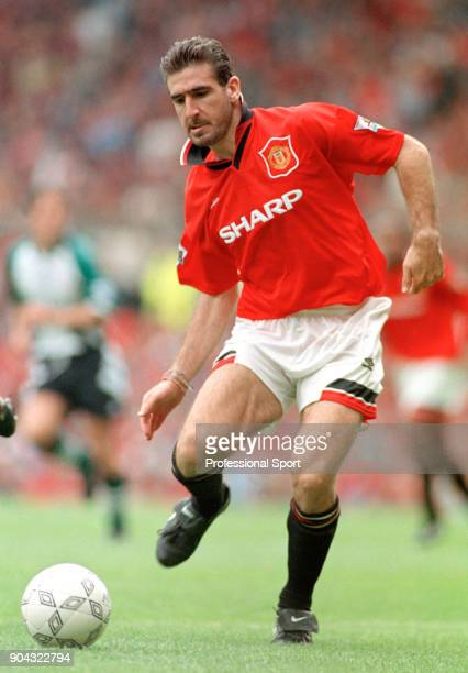 Eric Cantona of Manchester United in action during an FA Carling Premiership match between Manchester United and Liverpool at Old Trafford on...