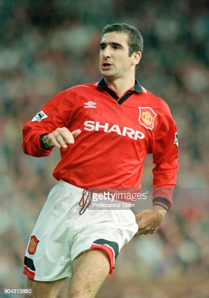 Eric Cantona of Manchester United in action during the FA Carling Premiership match between Manchester United and Liverpool at Old Trafford on...