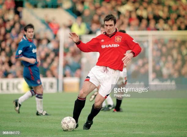 Eric Cantona of Manchester United in action during the FA Carling Premiership match between Chelsea and Manchester United at Stamford Bridge on...