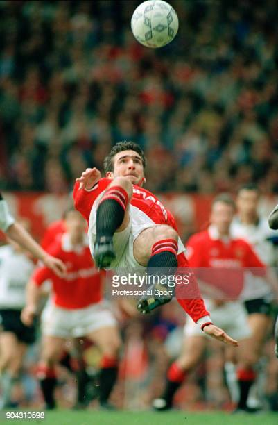 Eric Cantona of Manchester United in action during the FA Premier League match between Manchester United and Aston Villa at Old Trafford on March 14...