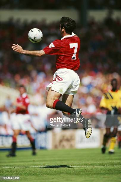 Eric Cantona of Manchester United in action wearing the famous number 7 shirt during the 1993 FA Charity Shield against Arsenal on August 7 1993 in...
