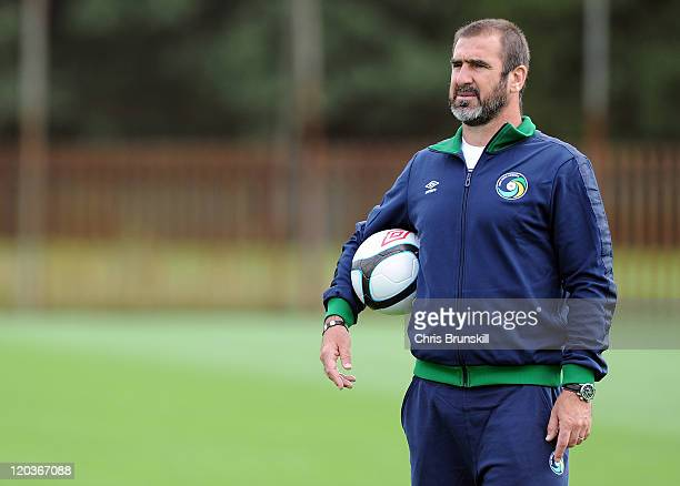 Eric Cantona of New York Cosmos looks on during a training session at Platt Lane on August 5 2011 in Manchester England