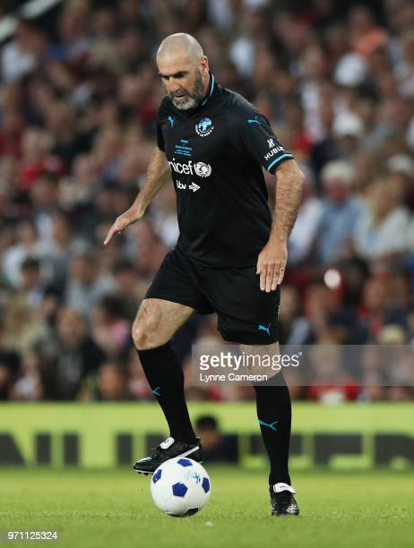 Eric Cantona of the Rest of the World in action during the Soccer Aid for UNICEF 2018 match between Englannd and the Rest of the World at Old...