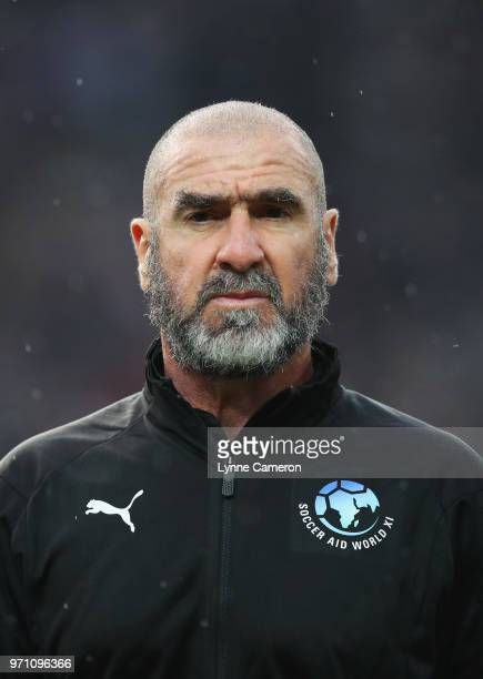 Eric Cantona of the Rest of the World looks on prior to the Soccer Aid for UNICEF 2018 match between England and the Rest of the World at Old...