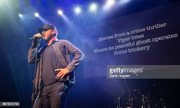 Eric Cantona performs at the Hoping For Palestine charity concert at The Roundhouse on June 4 2018 in London England