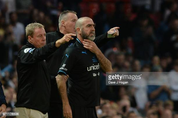 Eric Cantona waits to take to the field during Soccer Aid for Unicef 2018 at Old Trafford on June 10 2018 in Manchester England
