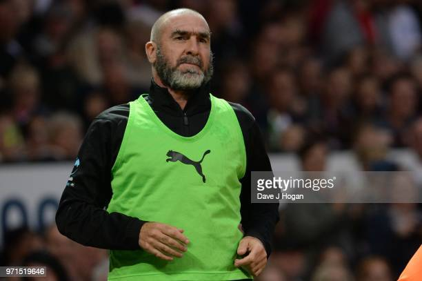 Eric Cantona warmsup during Soccer Aid for Unicef 2018 at Old Trafford on June 10 2018 in Manchester England at Old Trafford on June 10 2018 in...