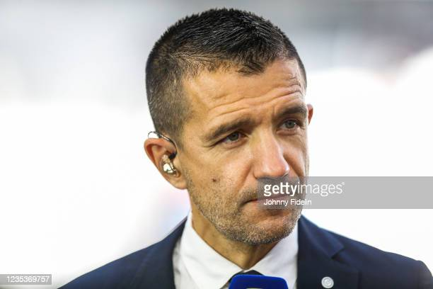 Eric CARRIERE, consultant Canal+ during the Ligue 1 Uber Eats match between Marseille and Rennes at Orange Velodrome on September 19, 2021 in...