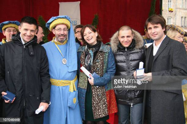 Eric Carriere Laurent Gauthier Cecilia Hornus Faudel and Fabrice Santoro attend the Hospices de Beaune wine annual auction brotherhood day at...