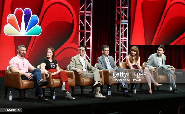 Eric Charmelo Nicole Snyder David Schulner Jeff Rake Elizabeth Berger Isaac Aptaker of the television panel 'Drama Showrunners' speak during the NBC...