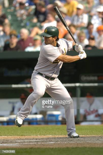 Eric Chavez of the Oakland Athletics bats against the Baltimore Orioles at Camden Yards April 24 2007 in Baltimore Maryland