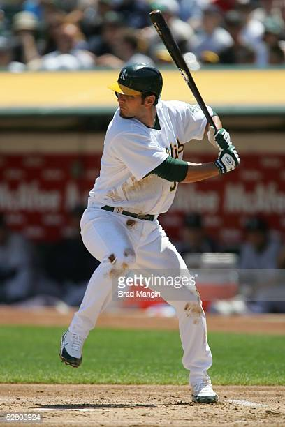 Eric Chavez of the Oakland Athletics bats during the game against the Seattle Mariners at McAfee Coliseum on May 1, 2005 in Oakland, California. The...