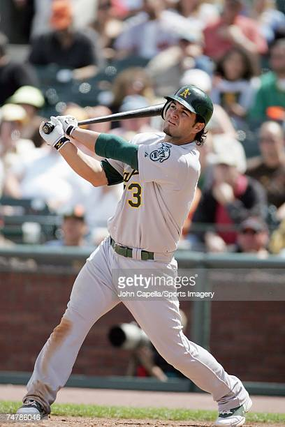 Eric Chavez of the Oakland Athletics batting during the MLB game against the San Francisco Giants on June 9 2007 in San Francisco California