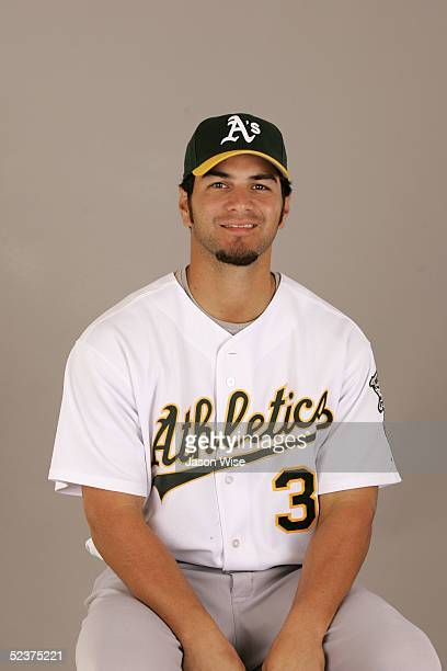 Eric Chavez of the Oakland Athletics poses for a portrait during photo day at Phoenix Stadium on February 28 2005 in Phoenix Arizona