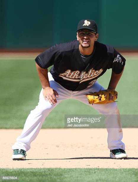 Eric Chavez of the Oakland Athletics waits in the field against the Seattle Mariners during a Major League Baseball game on April 12 2009 at the...
