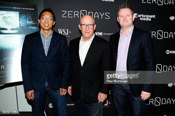 Eric Chien Alex Gibney and Liam O'Murchu attend WSJ Presents the New York Premiere of ZERO DAYS at New York Institute of Technology on June 23 2016...