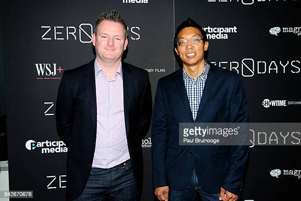 Eric Chien and Liam O'Murchu attend WSJ Presents the New York Premiere of ZERO DAYS at New York Institute of Technology on June 23 2016 in New York...