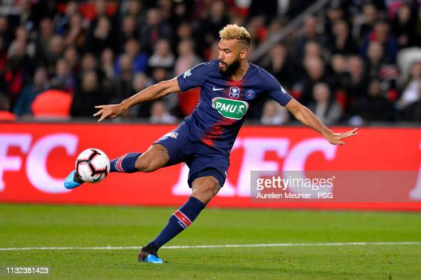 Eric Choupo Moting of Paris SaintGermain shoots on goal during the French League Cup match between Paris SaintGermain and Dijon at Parc des Princes...