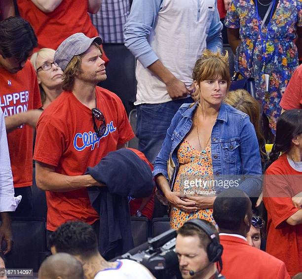 Eric Christian Olsen and his wife Sarah Wright attends a NBA playoff game between the Memphis Grizzlies and the Los Angeles Clippers at Staples...