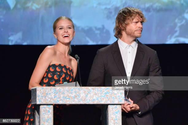 Eric Christian Olsen and Sarah Wright at the Environmental Media Association's 27th Annual EMA Awards at Barkar Hangar on September 23 2017 in Santa...