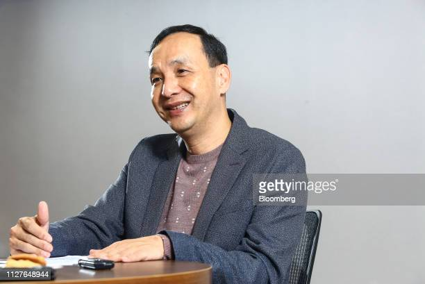 Eric Chu, a presidential candidate from the Kuomintang party, speaks during an interview in Taipei, Taiwan, on Monday, Feb. 25, 2019. Leading Taiwan...