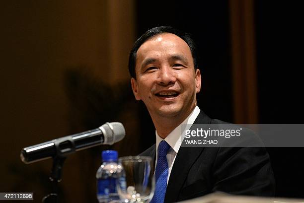 Eric Chu, chairman of Taiwan's ruling Kuomintang party attends a press conference at a hotel in Beijing on May 4, 2015. China's Communist Party chief...