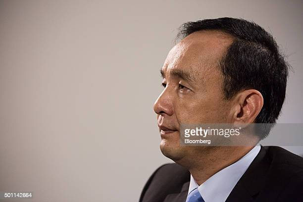Eric Chu, presidential candidate and chairman of Taiwan's ruling party Kuomintang, listens during an interview at the party's headquarters in Taipei,...