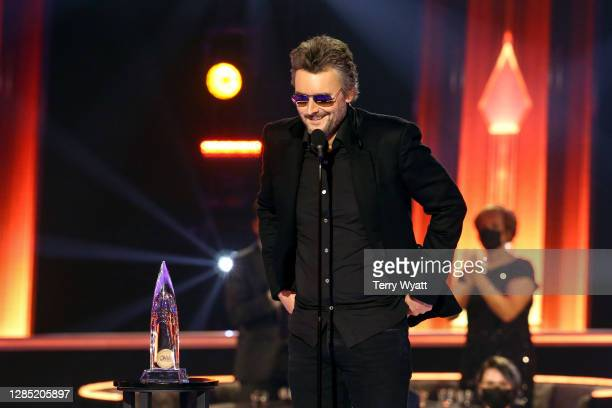 Eric Church accepts an award onstage during the The 54th Annual CMA Awards at Nashville's Music City Center on Wednesday, November 11, 2020 in...