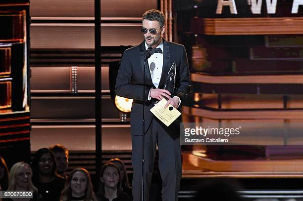 Eric Church accepts the award for Album of the Year onstage at the 50th annual CMA Awards at the Bridgestone Arena on November 2 2016 in Nashville...