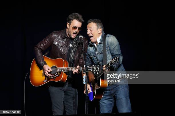 Eric Church and Bruce Springsteen peroforms on stage at The New York Comedy Festival and The Bob Woodruff Foundation present the 12th Annual Stand Up...