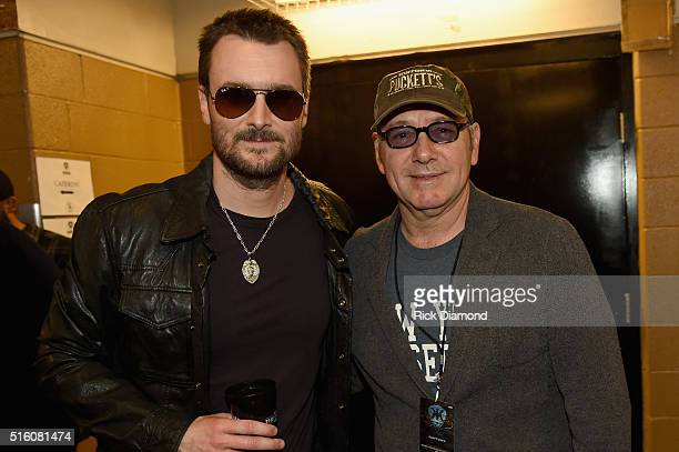 Eric Church and Kevin Spacey attend The Life Songs of Kris Kristofferson produced by Blackbird Presents at Bridgestone Arena on March 16 2016 in...