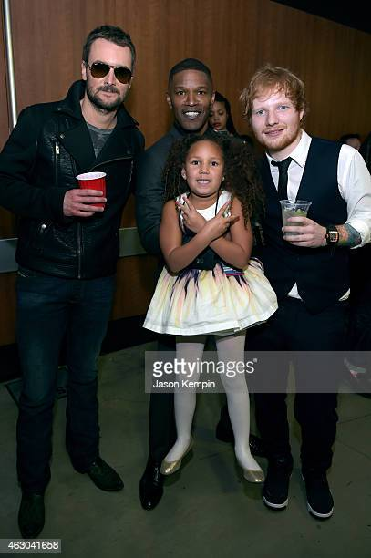 Eric Church Annalise Bishop Jaime Foxx and Ed Sheeran attend The 57th Annual GRAMMY Awards at STAPLES Center on February 8 2015 in Los Angeles...