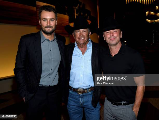 Eric Church George Strait and Kenny Chesney attend the TJ Martell Foundation 9th Annual Nashville Honors Gala at Omni Hotel on February 27 2017 in...
