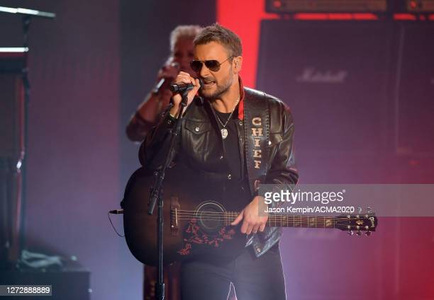 Eric Church performs onstage during the 55th Academy of Country Music Awards at the Grand Ole Opry on September 14, 2020 in Nashville, Tennessee. The...