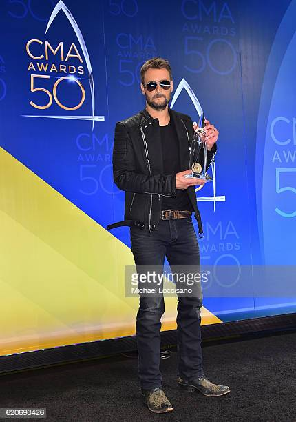 Eric Church poses with award for the Album of the Year at the 50th annual CMA Awards at the Bridgestone Arena on November 2 2016 in Nashville...
