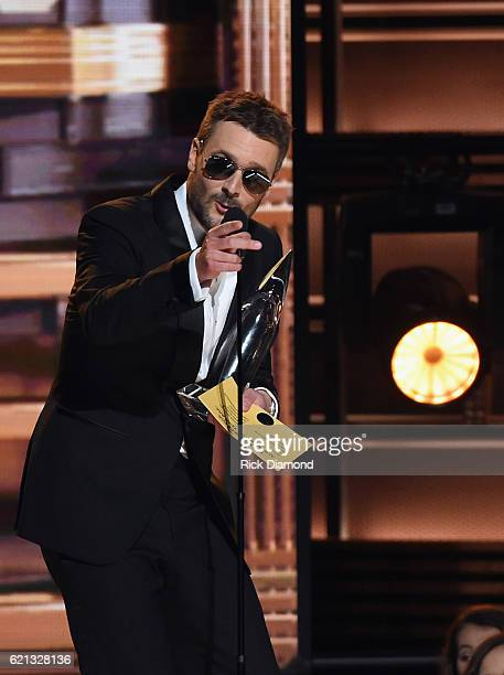 Eric Church receives Album of the Year Award for Mr Misunderstood during the 50th annual CMA Awards at the Bridgestone Arena on November 2 2016 in...