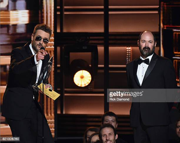Eric Church with CoProducer Arthur Buenahora receive Album of the Year Award for Mr Misunderstood during the 50th annual CMA Awards at the...