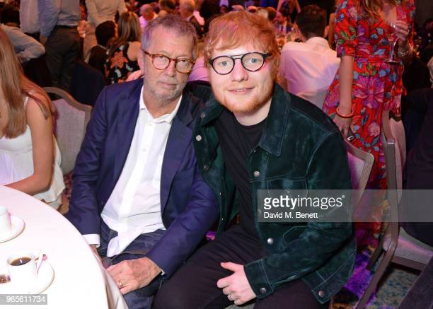 Eric Clapton and Ed Sheeran attend the Ivor Novello Awards 2018 at Grosvenor House on May 31 2018 in London England