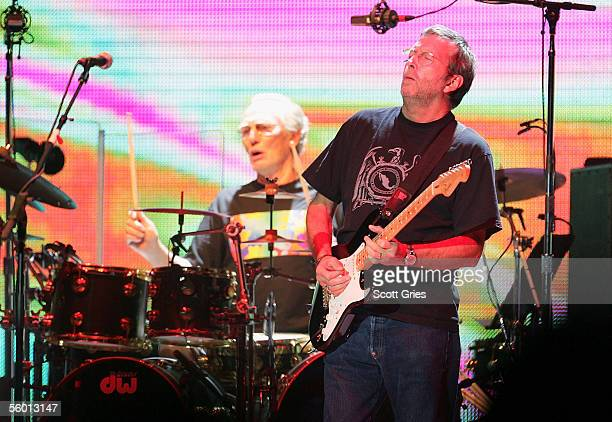 Eric Clapton and Ginger Baker of Cream perform onstage at Madison Sqaure Garden October 25, 2005 in New York City.