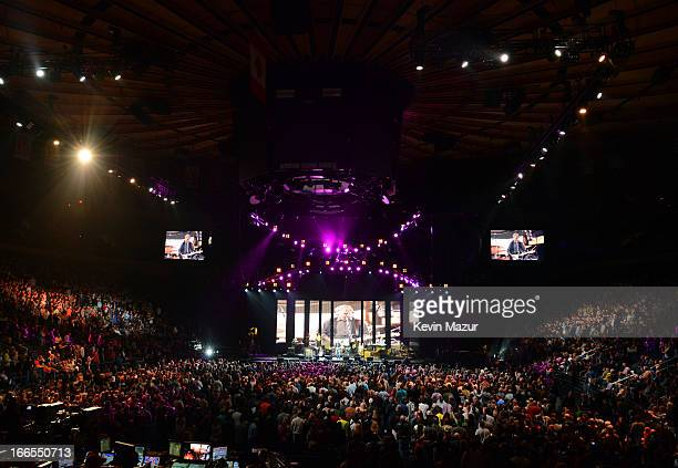 Eric Clapton and guests perform during encore of the 2013 Crossroads Guitar Festival at Madison Square Garden on April 13 2013 in New York City